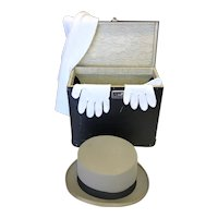 Vintage Top Hat, Gloves, Scarf & Box, Hat Marked Ambassador