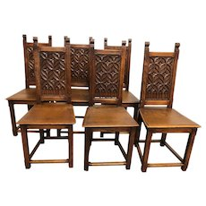 19th Century set of Six French Gothic Dining Chairs, Oak, Primitive