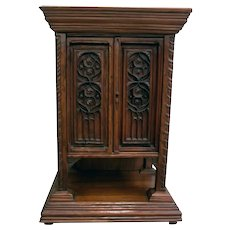 Antique French Gothic Cabinet / Pedestal, Small, 19th Century, Walnut