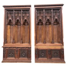 Exquisite French Gothic Church Chapels, Architectural, Oak, 19th Century