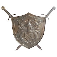 Vintage Metal Shield with Swords, 1940-50's
