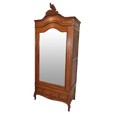 Clean & Simple Antique French French Louis XV Armoire, 1920's, Oak #10316