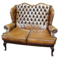 Brown Leather Chesterfield Bench or Love Seat, Great Office Seating, Value