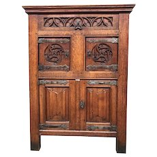 Antique French Gothic Cabinet, Small, Oak, 1900-1920's