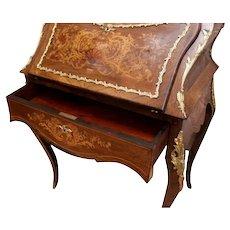 Beautiful Antique French Napoleon III Ladies Desk,  Rosewood, Bronze Accents