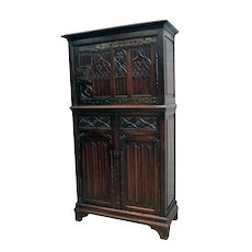 Antique French Gothic Cabinet, Decorative Hardware, Oak, 19th Century, Medieval