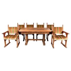 French Oak Dining Table & Six Chairs, 1920's, Oak, Figurative Carvings