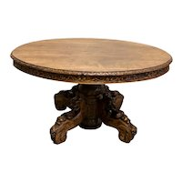 Antique French Hunt Dining Table, Nice Carvings, Oak, 19th Century