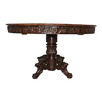 Nicely Carved French Hunt table, Carved Apron,  Oak, 19th Century