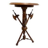 Antique French Occasional Side Table or Pedestal 995 Carved Weapons, Walnut, 1920's