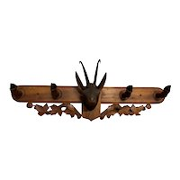 Antique French Black Forest Coat Rack, 1920's, Walnut