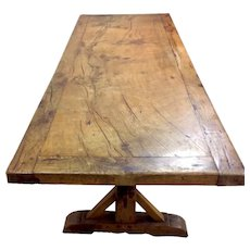Great Rustic French Farm Table Monastery Table, 19th Century, Oak