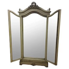 Truly Unique Antique French Triplicate Mirror / Dressing Mirror, 19th Century