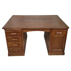 Large Vintage French Oak Partners Desk, Value Priced, Clean Lines