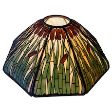 Handel 24 Inch Cattail Overlay Lamp Shade, Signed