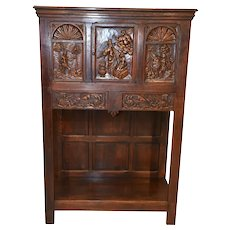 Unique Antique French Cabinet, Religious Carvings Story of Adam & Eve, Walnut