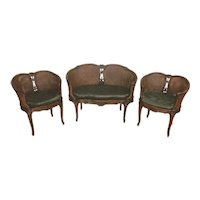 Nice Good Quality Antique French Salon Set with Cane, 1920's, Walnut