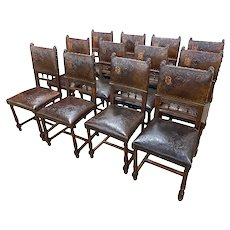 Complete set of 12 French Henri II Dining Chairs Walnut, Pressed Leather