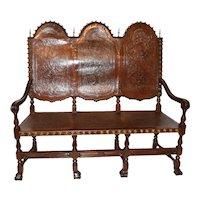 Vintage Spanish Revival  Bench, Leather & Decorative Tacks, 1920's