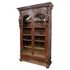Fantastic French Renaissance Bookcase, Glass Doors, Oak, 19th Century, Religious