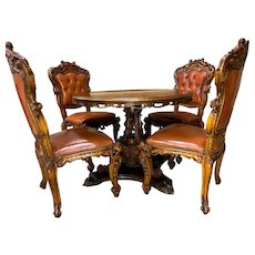 Stunning Vintage Italian Baroque Dining Set, Table & Four Chairs, 1950's