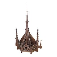 Gothic Church Steeple Wall Mount, Nice Architectural Element, Tall, Walnut, 19th Century