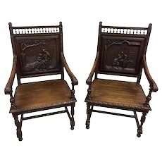 Antique Pair of French Breton Arm Chairs, Oak, 19th Century