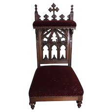 Striking Antique French Gothic Prayer Chair Church Kneeler, 19th Century, Walnut