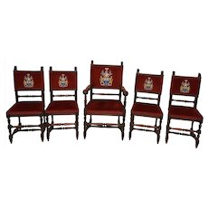 Special Set of Five French Oak Chairs, 1920's Owned by a Baron