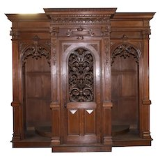 Elaborate Antique French Confessional , Carved Fretwork, Turn of Century