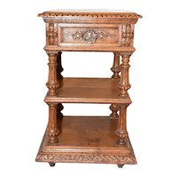French Hunt Night Stand, Marble Top, 19th Century, Oak #10543
