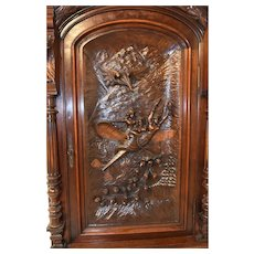 Antique French Door Wall Panel, Fantastic Architectural Carvings. Whimsical #10546