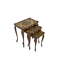 Italian Gold Painted Nesting Tables, 1950-60's, Three Tables