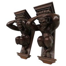Mythological Pair of Carved Satyr Wall Brackets, French, 19th Century, Architectural