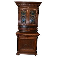 Antique Belgian Leaded Glass Cabinet, Figurative Carvings, 1920's Oak