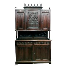 Value Priced Antique French Gothic Cabinet, Oak, Turn of Century