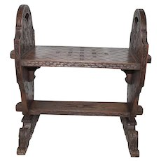 Unique French Bench, 1920's, Oak, Nice Smaller Model #10576