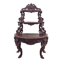 Antique French Renaissance Console, Centaur Carvings, 19th Century, Walnut
