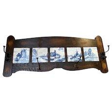 Rustic Delft Coat Rack, Belgian, 1920's, Oak Frame