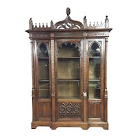 Stately Antique French Gothic Bookcase, Walnut, 19th Century, Superior Quality