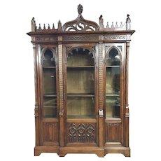 Stately Antique French Gothic Bookcase, Walnut, 19th Century, Superior Quality