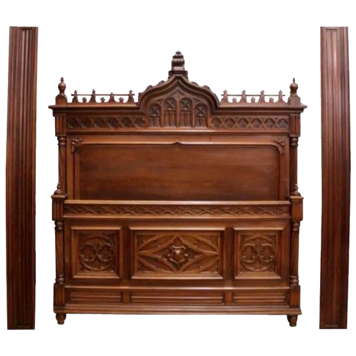 Antique French Gothic Bed Nightstand