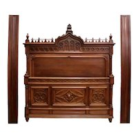 Antique French Gothic Bed & Nightstand, 19th Century, Walnut, Tall Headboard