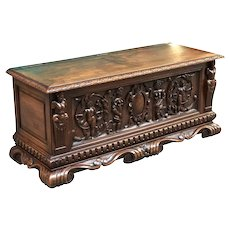 Attractive French Renaissance Trunk, Cherubs & Maidens, 1920's, Walnut