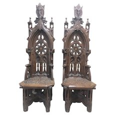 Striking Pair Antique French Gothic Arm Chairs, Heavily Carved, 19th Century, Oak