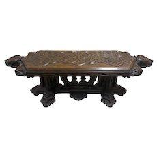 Unique & Rare French Gothic Coffee Table, 19th Century, Oak