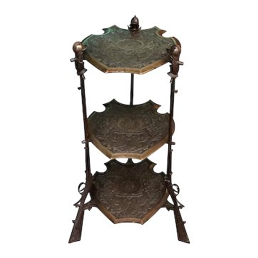 Unusual Vintage End Table or Stand with Muskets, Bronze, 1940's
