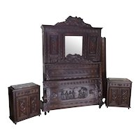 Lovely Antique French Breton Bedroom, Bed, Armoire, Nightstands, 1900's, Oak