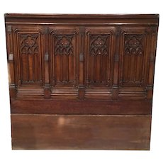 Large French Gothic  Panel Great Headboard, Architectural, Oak, 19th Century