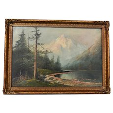 Oil on Canvas Antique Matzow Painting, Outdoor Scenery, 1920's